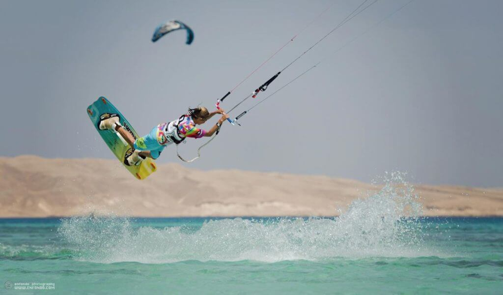 Flat water kiteboarding in Egypt