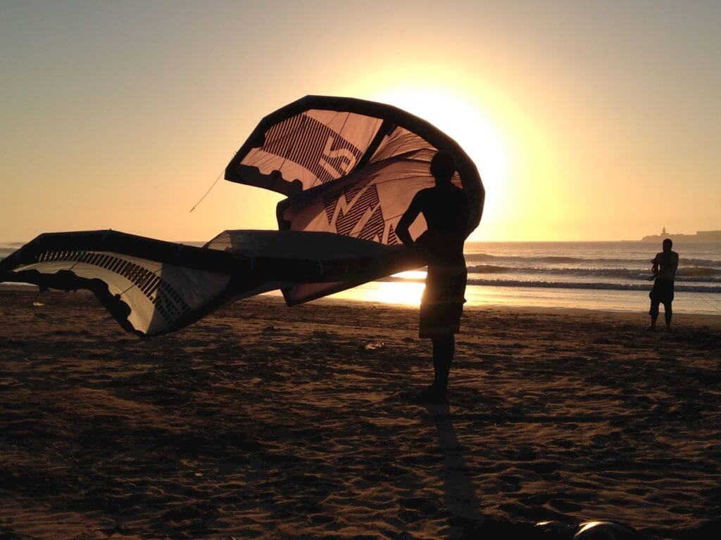 Tarifa kitesurfing sunset